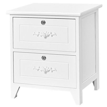 Solid Wood Elegant Nightstand W 2 Locking Drawer End Table