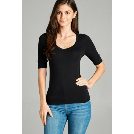 Women's Basic Elbow Sleeve V-Neck Short Sleeve T-Shirt Stretchy Top Half Sleeve Several Colors