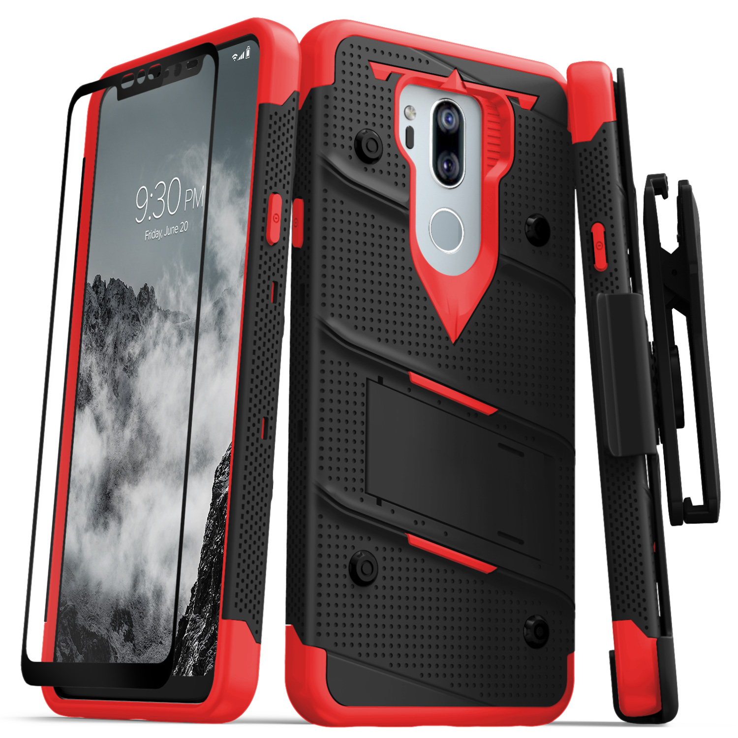 Zizo BOLT Series compatible with LG G7 ThinQ Case Military Grade Drop Tested with Tempered Glass Screen Protector, Holster, Kickstand
