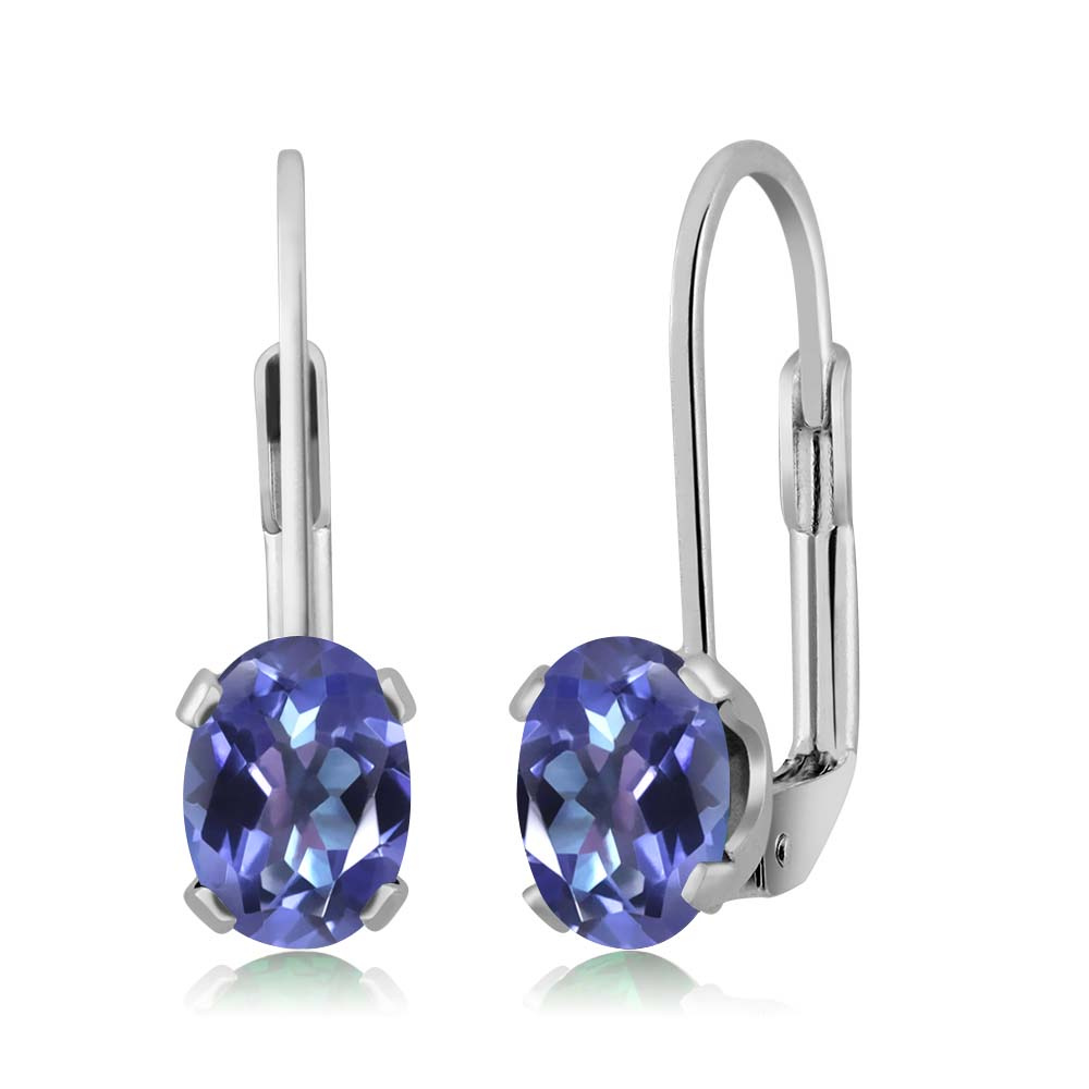 1.90 Ct Oval Purple Blue Mystic Topaz Silver Plated prong Leverback Earrings