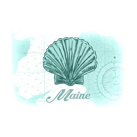 Maine - Scallop Shell - Teal - Coastal Icon Print Wall Art By Lantern Press (Maine Scallops)