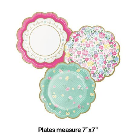 Creative Converting Floral Tea Party Scalloped Plate 7