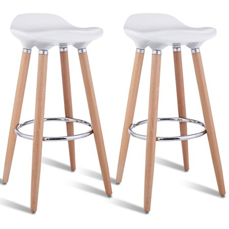 Costway Set of 2 ABS Bar Stool Breakfast Barstool w/ Wooden Legs Kitchen Furniture White ()