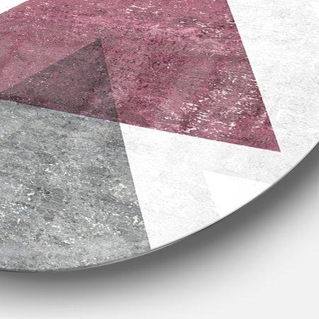 Designart 'Pink Geometric Mod Triangles I' Geometric Metal Circle Wall Art - image 1 de 3