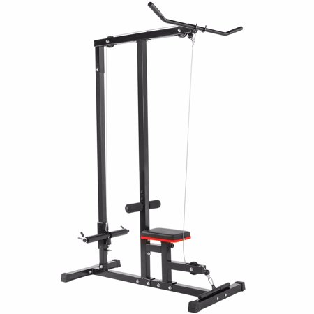 XtremepowerUS Multi-Function Pro Lat Pulldown Machine with Low Row Bar Cable Fitness