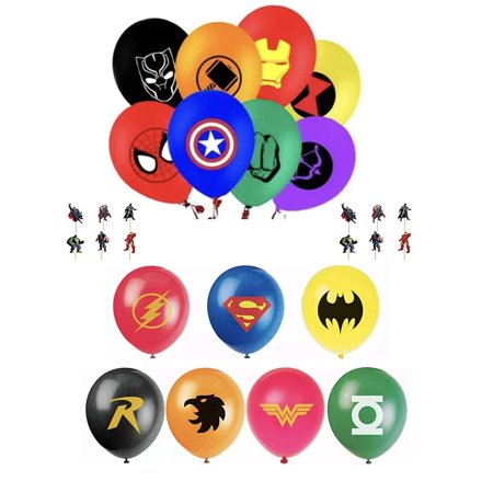 Avengers Party Ideas (The Avengers and Justice League Superhero Emblem 15 Count Party Balloon Pack - Large 12