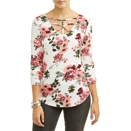 No Boundaries Juniors floral printed caged v-neck crochet lace back long sleeve t-shirt