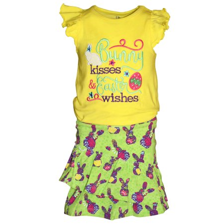 Bunny Girl Set (Girls Bunny Kisses, Easter Wishes 2 Piece Skirt Set)