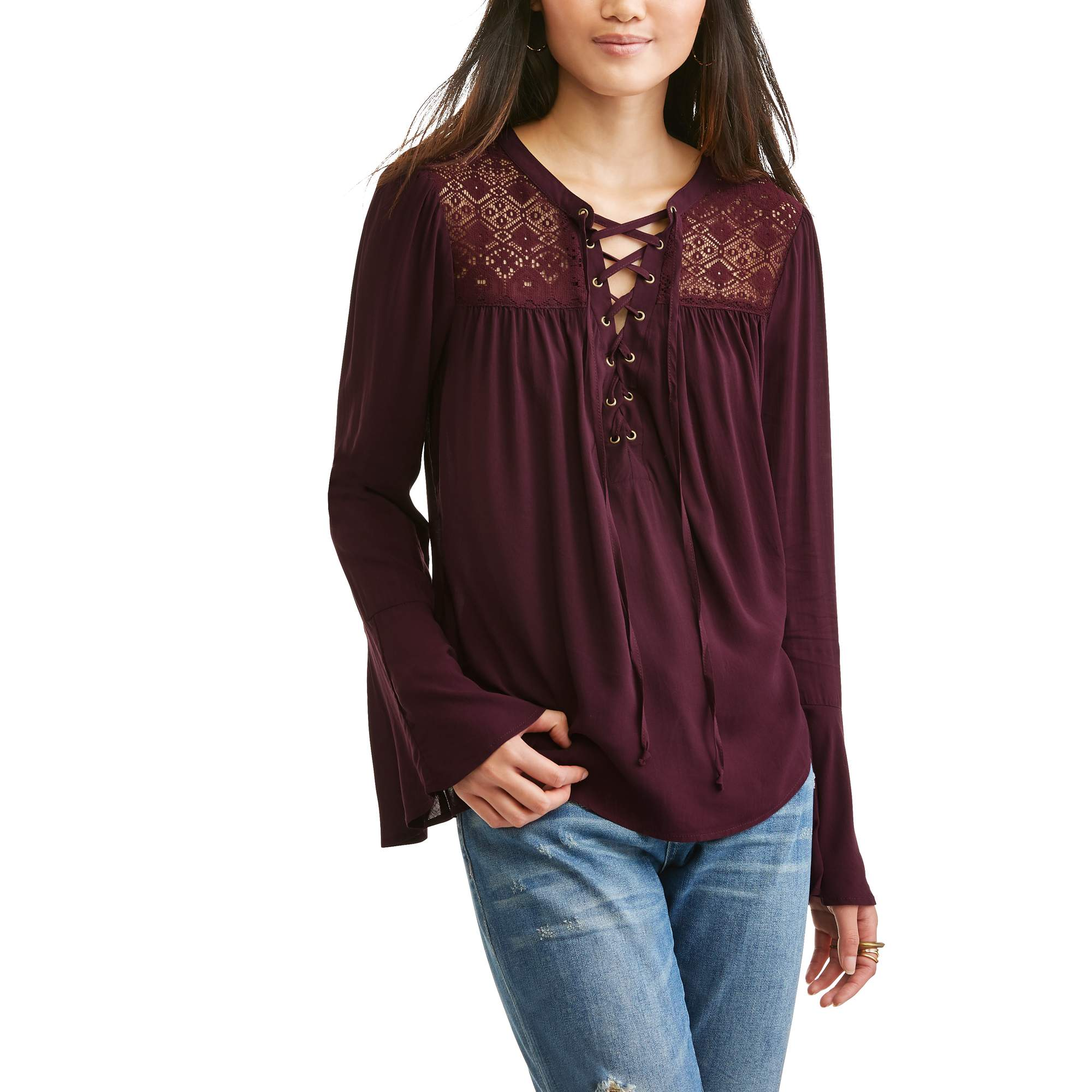 No Boundaries Juniors' Lace-Up Lace yoke Bell Sleeve Blouse