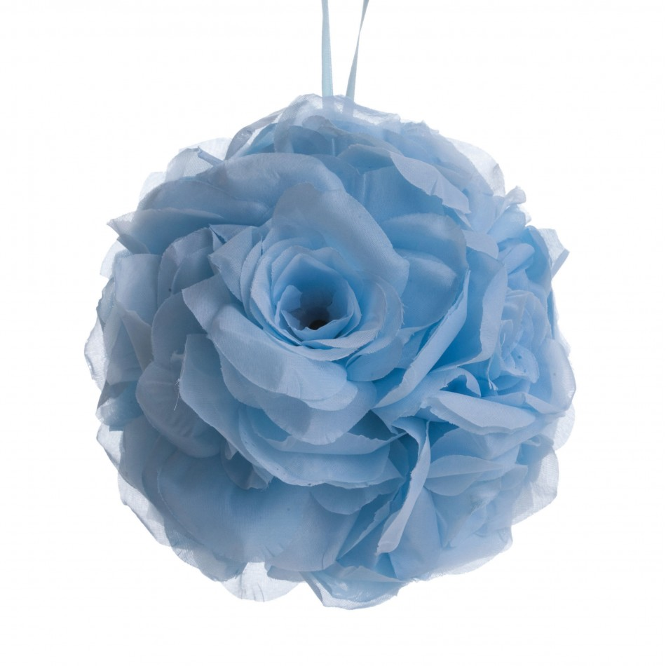 Koyal Rose Ball Wedding Flower Decoration, 6-Inch, Sky Blue