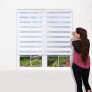 WYMO Zebra Blinds for Windows White - Sheer Horizontal Window Blinds and Shades for Daytime and Nighttime - Light Filtering Roller Shades for Windows with White Valence