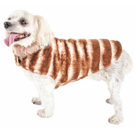 Pet Life 55STXS Luxe Tira-Poochoo Tiramisu Patterned Mink Dog Coat Jacket - White & Brown, Extra Small - image 1 of 1