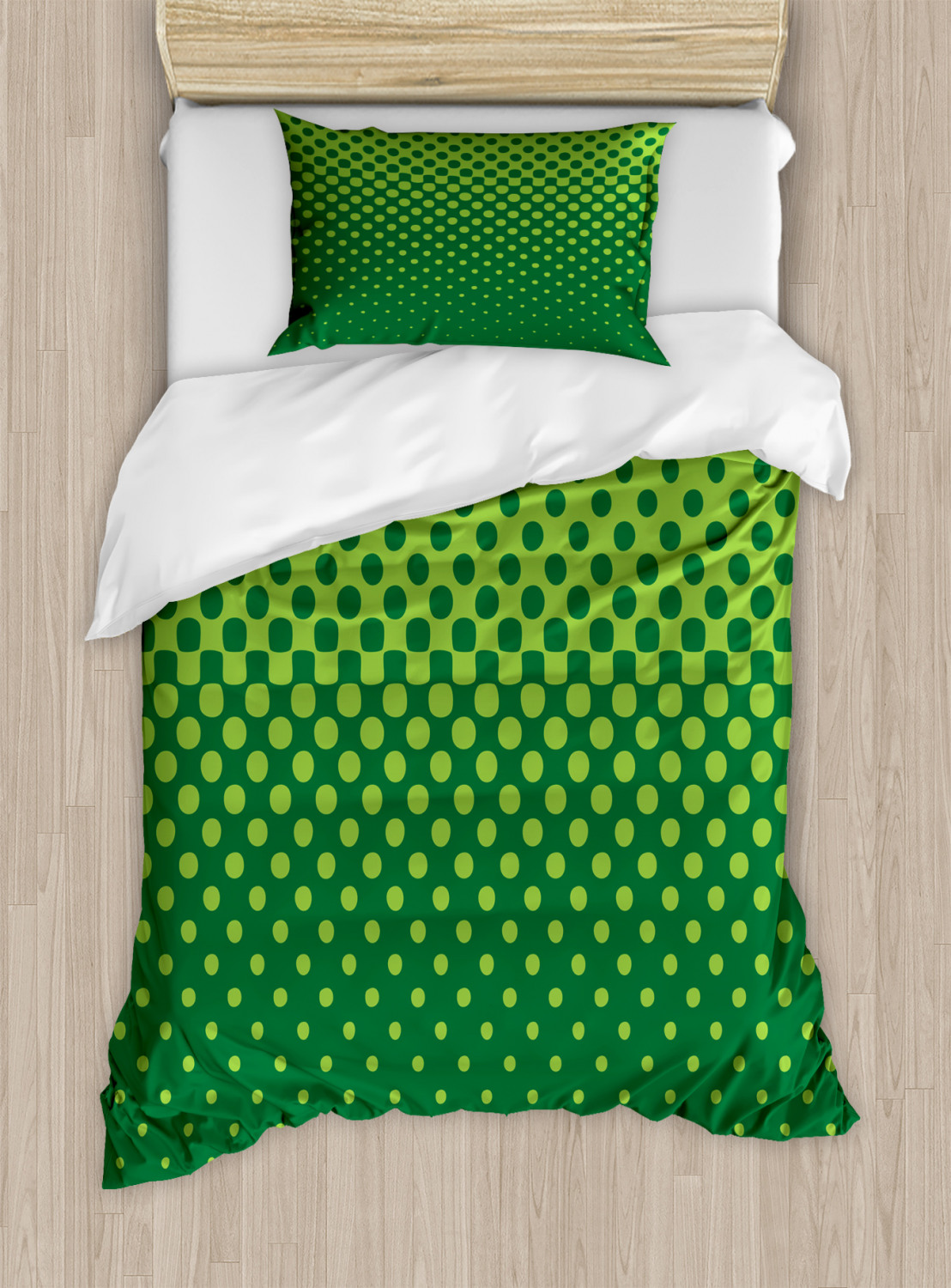 Abstract Green Duvet Cover Set Vertical Halftone Design With Dots And Spots Contemporary Art Decorative Bedding Set With Pillow Shams Forest Green Lime Green By Ambesonne Walmart Com Walmart Com