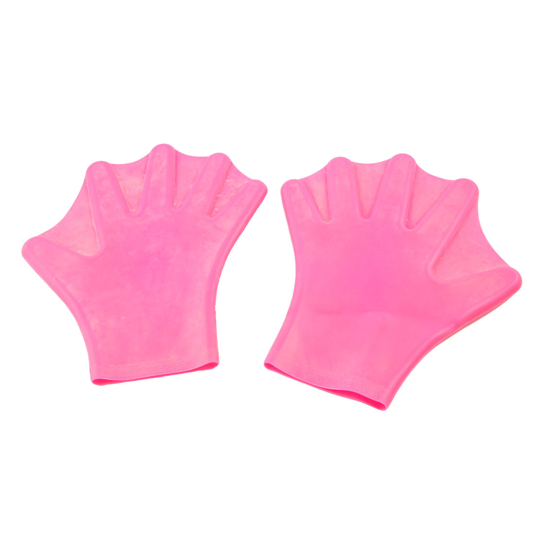 Unique Bargains Unique Bargains Men Women 2 Pcs Soft Silicone Swimming Diving Webbed Hand Gloves Fuchsia by Unique-Bargains