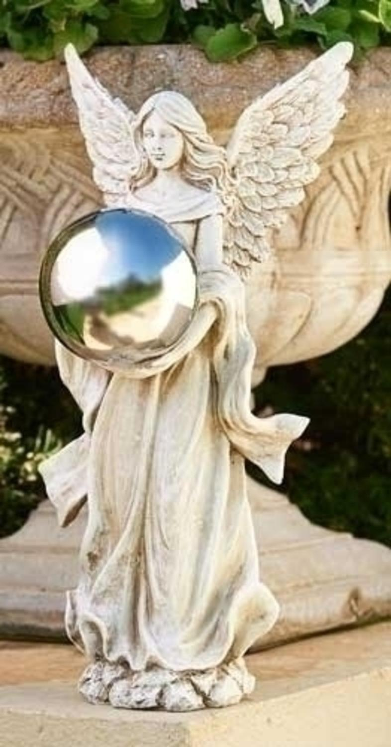 "18"" Serene Angel Holding a Silver Gazing Ball Outdoor Patio Garden Statue by Roman"