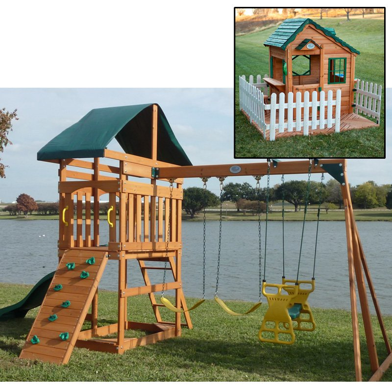 Swing Town Phoenix Swing Set with Mayfield Cottage Playhouse Set