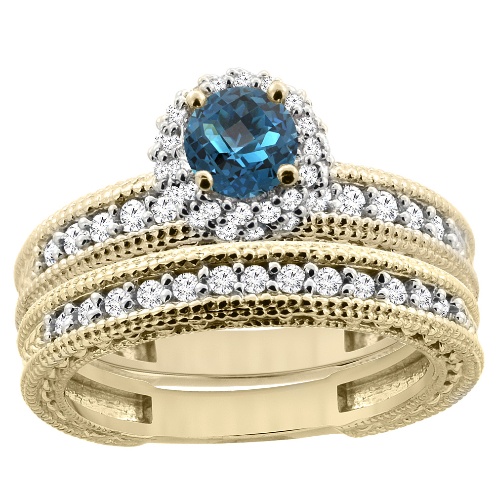 14K Yellow Gold Diamond Natural London Blue Topaz Round 4mm Engagement Ring 2-piece Set, size 5 by Gabriella Gold