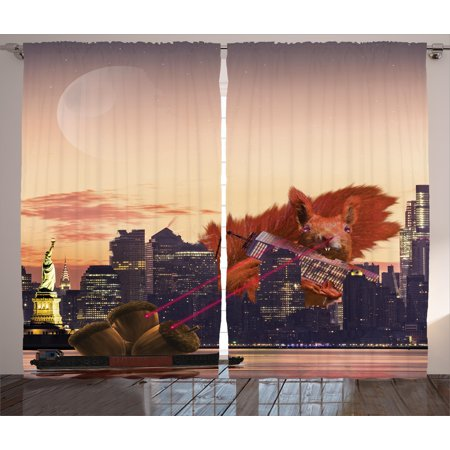 Cartoon Network City Halloween (Animal Curtains 2 Panels Set, Big Squirrel Cartoon in New York City Urban Landscape Lasering Big Nuts Artwork, Window Drapes for Living Room Bedroom, 108W X 108L Inches, Multicolor, by)
