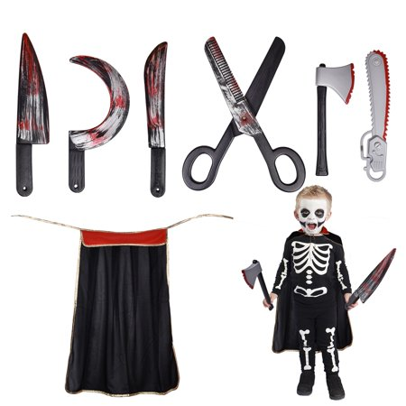 Halloween Party Decoration Bloody Weapons, Halloween Props Halloween Accessories For Haunted Houses Sickle, Axe, Saw, Scissors, Knives and Kids Halloween Cape 7 PCs F-210](Knife Party Halloween Set Times)