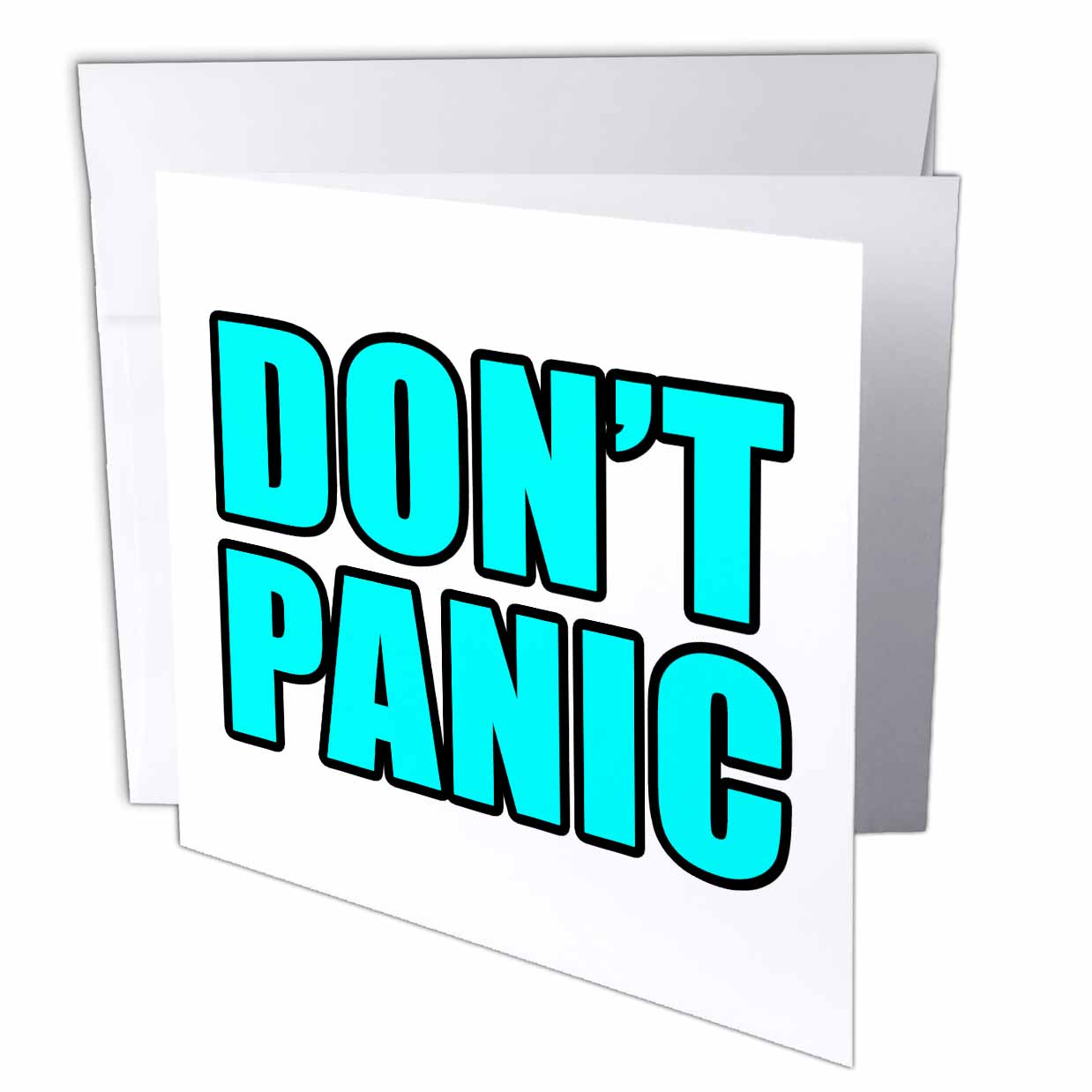 3dRose Dont Panic Aqua, Greeting Card, 6 x 6 inches, single
