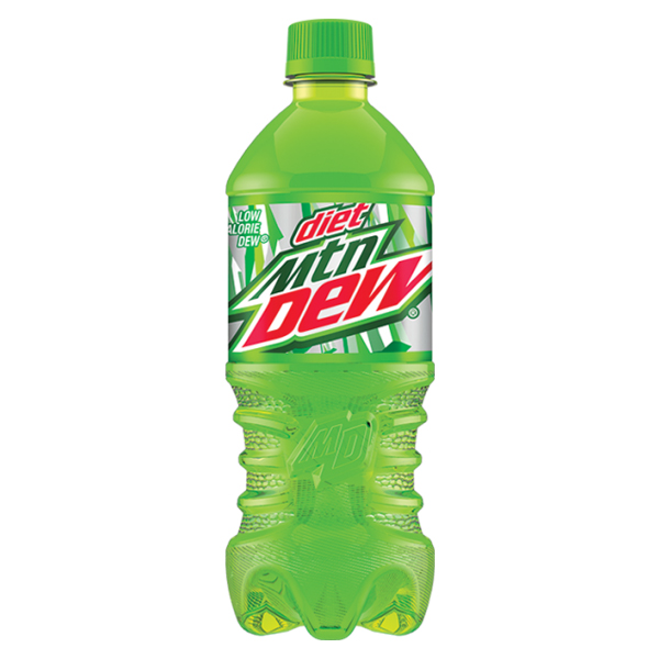Diet Mountain Dew 20 Oz Plastic Bottles Pack of 24