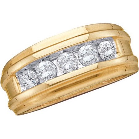 14K Yellow Gold 0.25CT Round Cut Diamond Channel Set 5 Stone Mens Band Ring