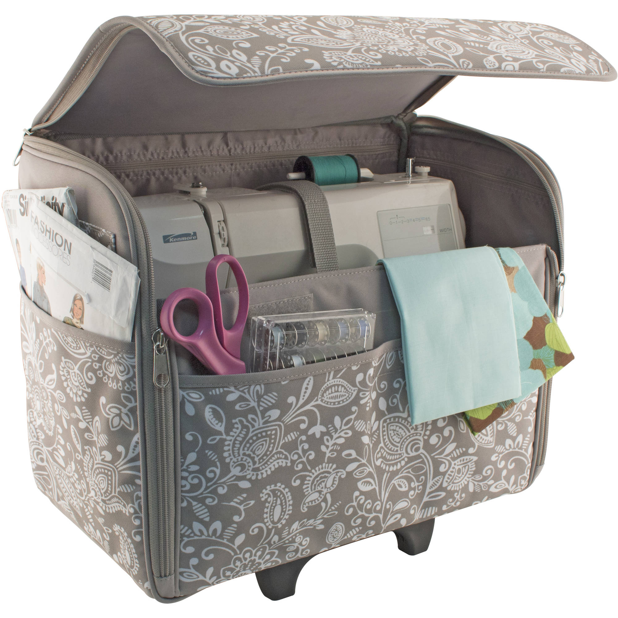 Everything Mary Dome Rolling Sewing Machine Case Grey White