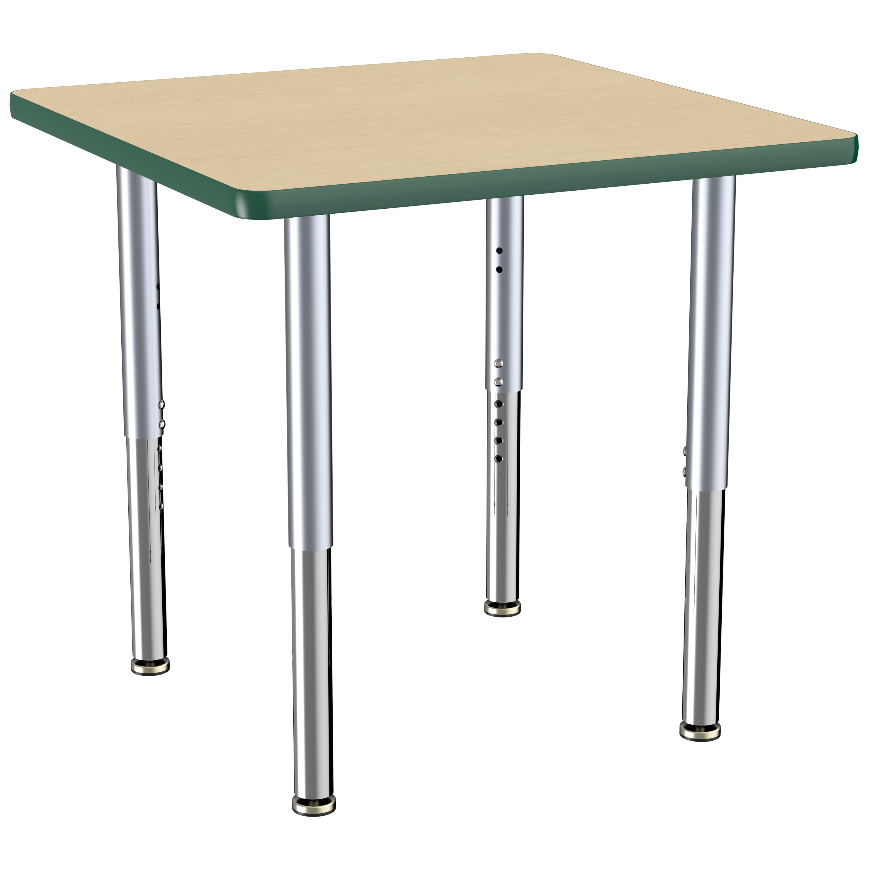 ECR4Kids 30in x 30in Square Everyday T-Mold Adjustable Activity Table Maple/Green/Silver - Super Leg