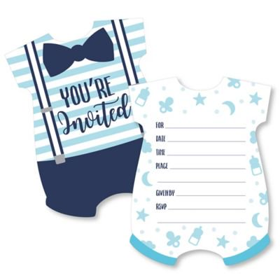 It's a Boy - Shaped Fill-in Invitations - Blue Baby Shower Invitation Cards with Envelopes - Set of