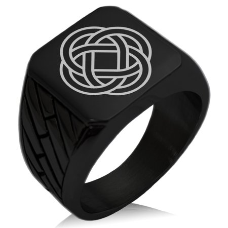 Stainless Steel Celtic Eternity Knot Geometric Pattern Biker Style Polished Ring