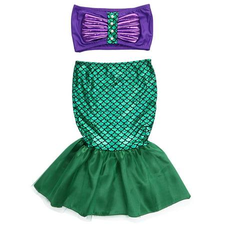 Green Mermaid Skirt Costume (Halloween Kid Baby Girl Tube Top Mermaid Skirt 2PCs Bikini Set Swimsuits Costume Outfits (Green, 4-5)