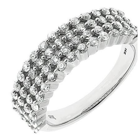 6mm Round Diamond Prong Set Wedding Band in White Gold (1.15 -