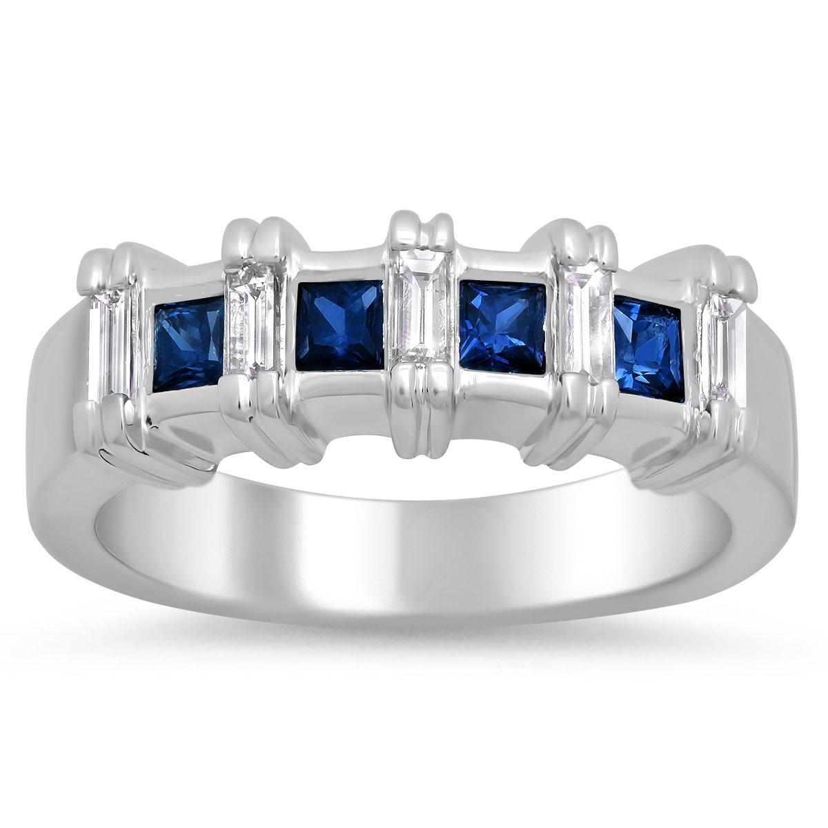 Chantal J 14k White Gold Sapphire and 1/3ct TDW Diamond Ring (F-G, VS1-VS2)