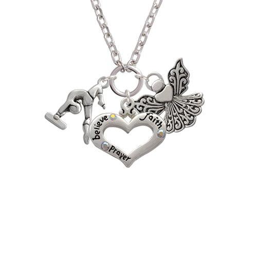 Gymnast Balance Beam Believe Faith Prayer Heart and Angel Zoe Necklace