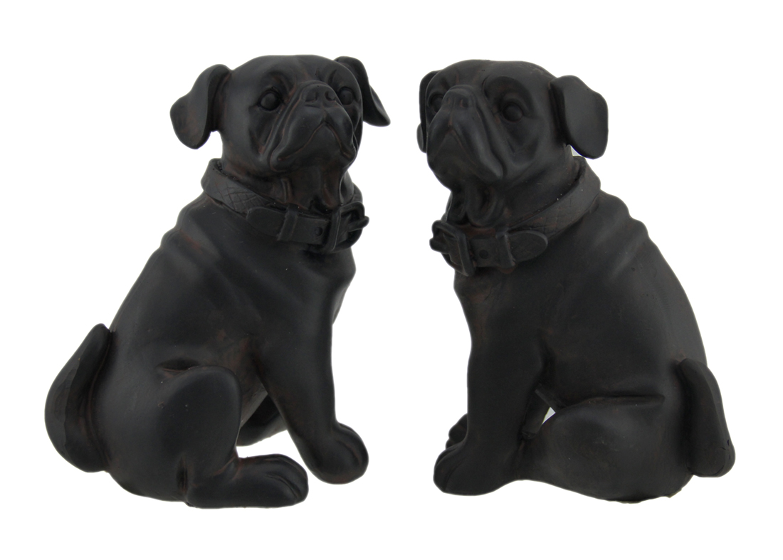 Adorable Brown Enamel Finish Pug Dog Bookends Set of 2 by J.D. Yeatts Imports