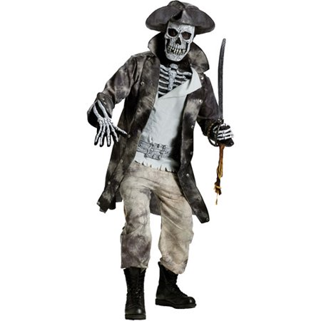 Ghost Pirate Adult Halloween Costume, Size: Up to 200 lbs - One Size - Halloween Ghost Crafts For Preschoolers