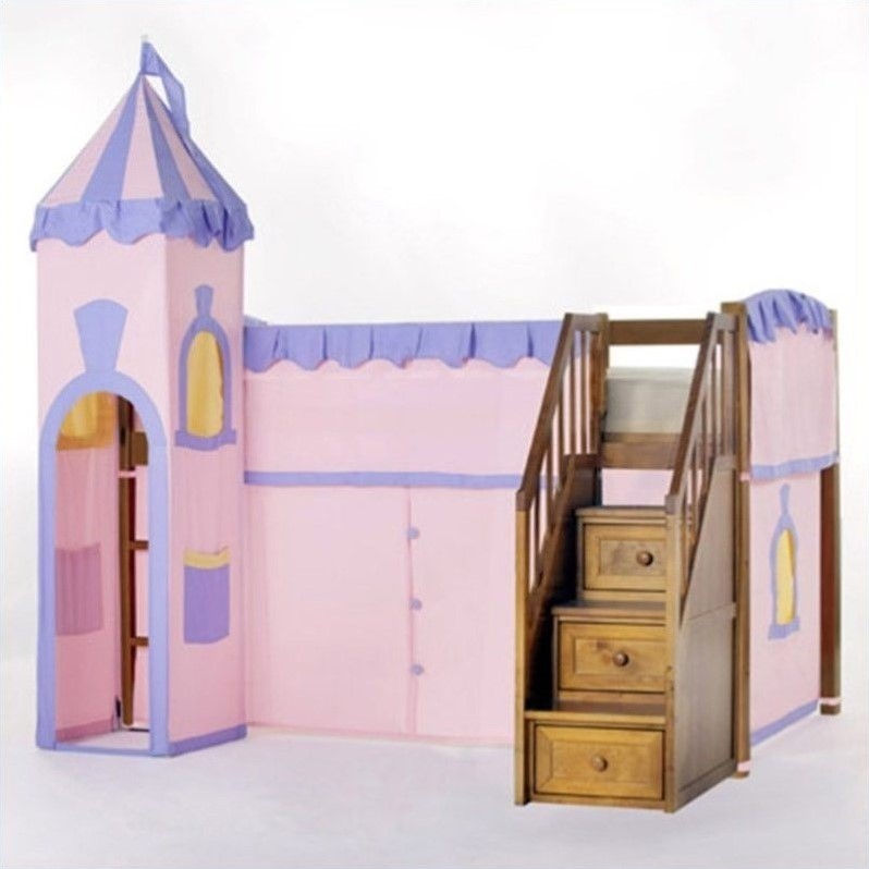 NE Kids School House Princess Loft Bed with Stairs in Pecan