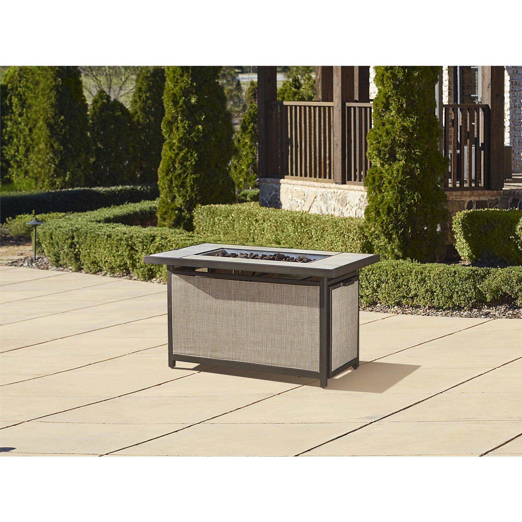 Cosco Outdoor Serene Ridge Aluminum Propane Gas Fire Pit Table With Lid Rectangular Dark Brown