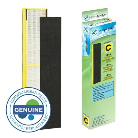 Genuine True Hepa Filter (Germ Guardian FLT5000 True HEPA GENUINE Air Purifier Replacement Filter C for GermGuardian AC5000E, AC5250PT, AC5300B, AC5350B, CDAP5500, and More)