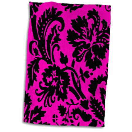 Hot Girls In Towels (3dRose Hot pink and black damask - large print stylish floral - bold sassy modern classy girly girl pattern - Towel, 15 by)