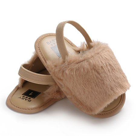 Baby Girls Faux Fur Slide Sandal Fluffy Slippers With Back Strap Soft Sole Non-Slip Toddler Shoes Prewalker Khaki 12cm For 0-6 Months - Glass Slippers Are So Back