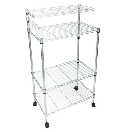 Clearance! Microwave Cart, SEGMART 4-Tier Kitchen Island On Wheels, Heavy Duty Storage Shelves with 3-Tier Shelves, 1 Top Shelf, Hanging Bar with 4 Hooks, Metal Bakers Rack Holds up to 176 lbs, Q1499 ()