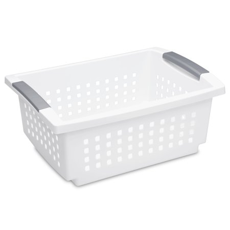 Stacking Basket (Sterilite, Medium Stacking Basket, White )
