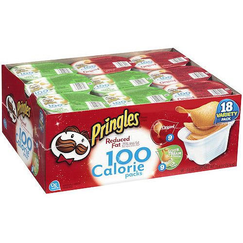 Pringles 100 Calorie Packs Variety Pack Reduced Fat Potato Crisps, 0.63 oz, 18 count