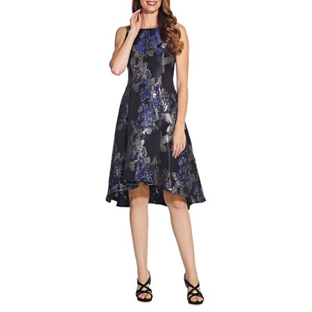 Sleeveless Metallic Floral Brocade Fit-&-Flare Dress (Cocktail Dress Adrianna Papell)