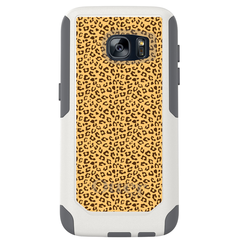 DistinctInk™ Custom White OtterBox Commuter Series Case for Samsung Galaxy S7 - Beige Tan Brown Cheetah Skin Spots