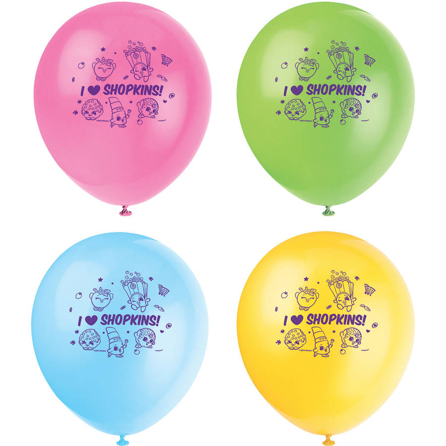 Latex Shopkins Balloons, 12 in, Assorted, 8ct