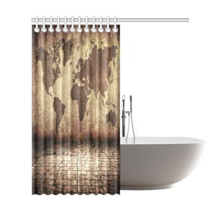 GCKG Vintage Brown World Map Shower Curtain, Globe Geographical ...