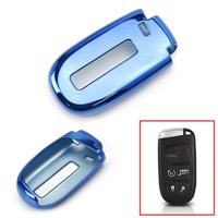 iJDMTOY Chrome Finish Blue TPU Key Fob Protective Cover Case For Dodge Charger Challenger Dart Durango Journey, Chrysler 200 300, Jeep Grand Cherokee, Renegade etc