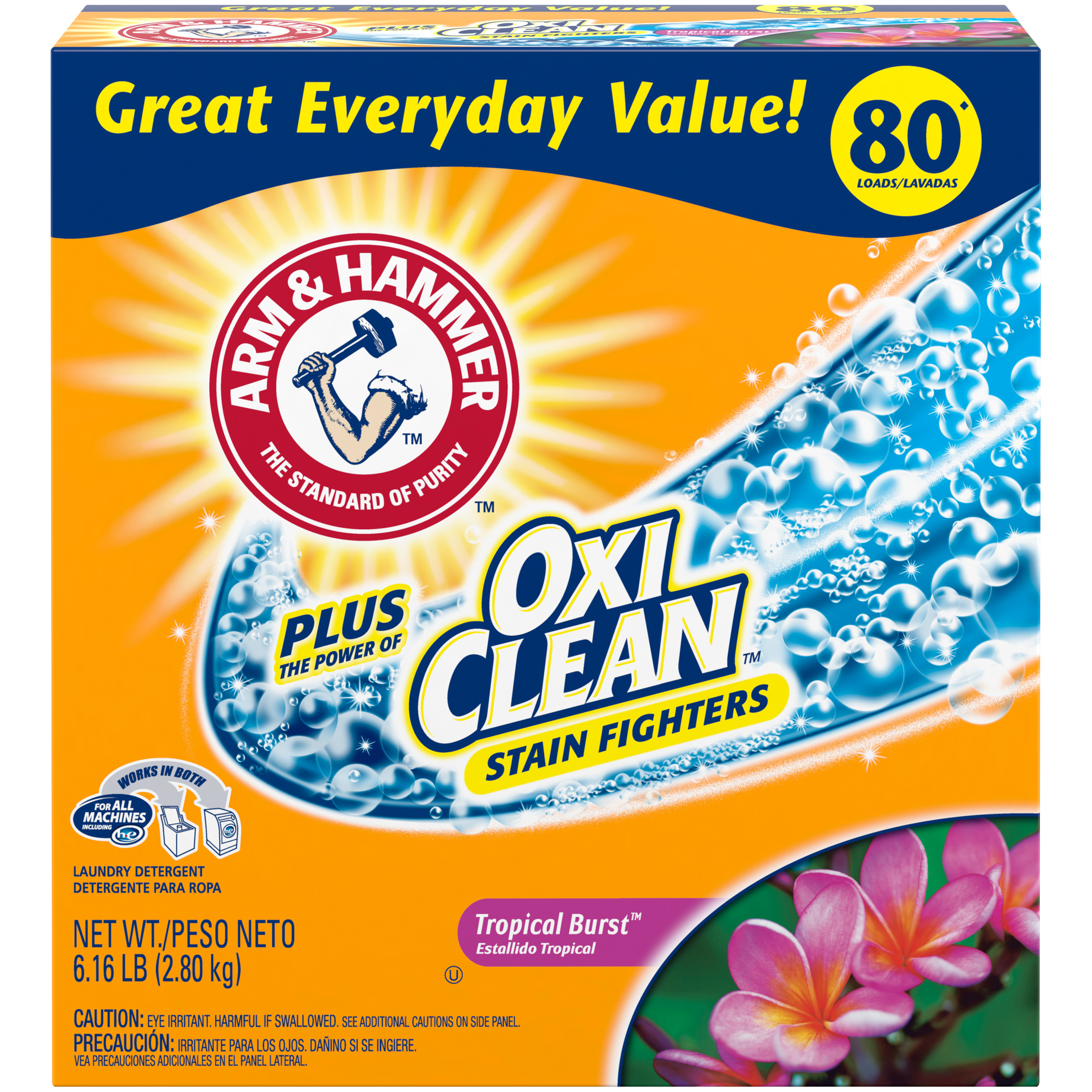 Arm & Hammer Plus OxiClean Powder Laundry Detergent, Tropical Burst, 80 Loads